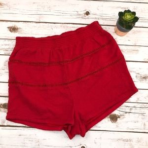 Free People Red Textured Lined Cotton Short Size L